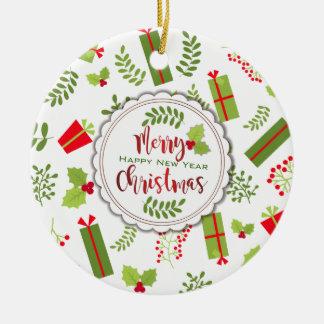 Belle photo de cadeaux de manuscrit de Noël Ornement Rond En Céramique