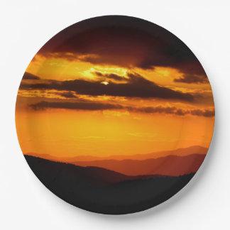 Belle photo de coucher du soleil assiettes en papier