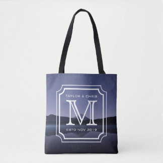 Belle photo de paysage de monogramme beau simple sac