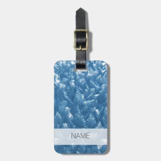belle photographie bleue fraîche de cristaux de étiquette à bagage