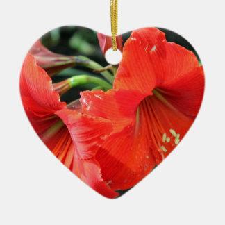 Belle photographie rouge de fleur ornement cœur en céramique