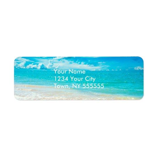 Belle plage d'été étiquette d'adresse retour