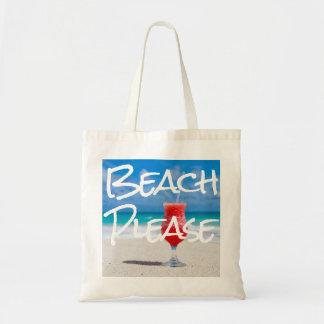 Belle plage sablonneuse svp avec le daiquiri rouge sacs fourre-tout