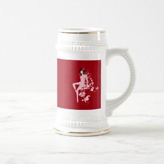 Belle rétro fée florale de point de polka mug à café