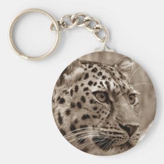 Belle sépia de portrait de léopard porte-clés