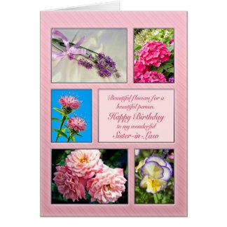 Belle,soeur, belle carte danniversaire de fleurs