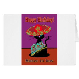 Belle-soeur de chat de sombrero carte de vœux