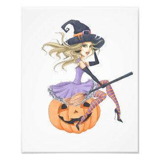 Belle sorcière sur le citrouille impression photo
