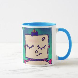 Belle tasse de café de robot de fille