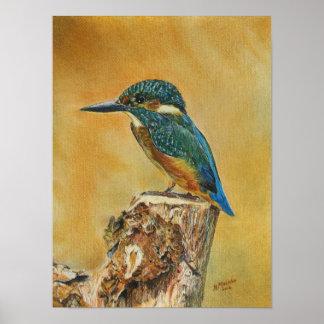 Belle toile bleue en bois de peinture de posters