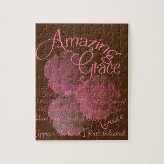 Belle typographie de rose de rose de grâce puzzle