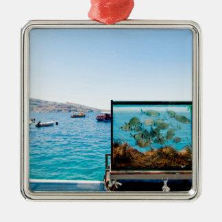 Belle vue de mer de Santorini Ornement Carré Argenté