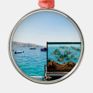 Belle vue de mer de Santorini Ornement Rond Argenté