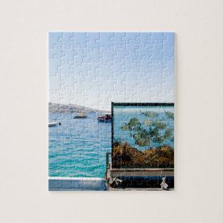 Belle vue de mer de Santorini Puzzle