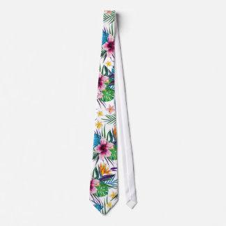Belles aquarelles florales tropicales de peinture cravate