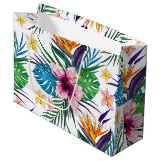 Belles aquarelles florales tropicales de peinture grand sac cadeau