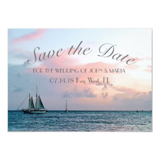 Belles économies de coucher du soleil de plage la carton d'invitation  12,7 cm x 17,78 cm
