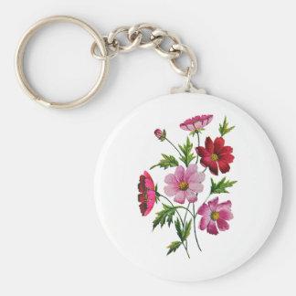 Belles fleurs de cosmos en broderie de laine à tap porte-clé rond