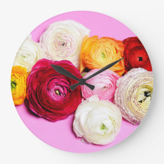 Belles fleurs grande horloge ronde