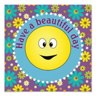 Belles fleurs souriantes de hippie de jour impression photo
