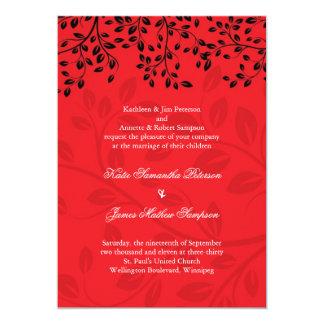 Belles invitations rouges et noires de mariage