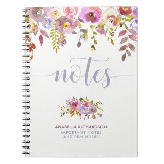 Belles notes florales et à la mode de la carnet