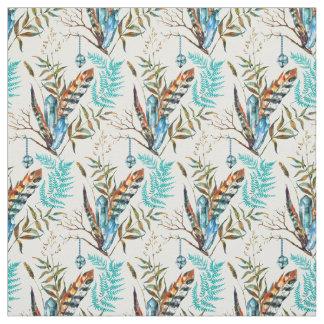 Belles plumes colorées avec les cristaux bleus tissu