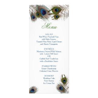 Belles plumes de paon, menu fait sur commande de