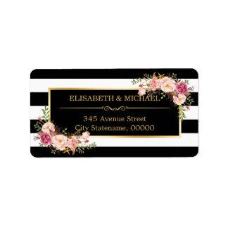 Belles rayures florales de blanc de noir de décor étiquette d'adresse