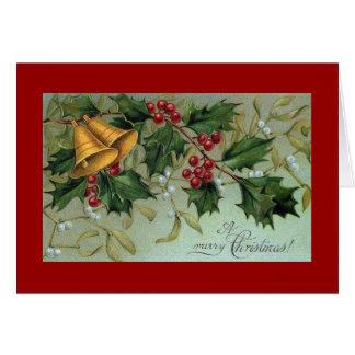 Bells de carte de voeux de Noël de houx
