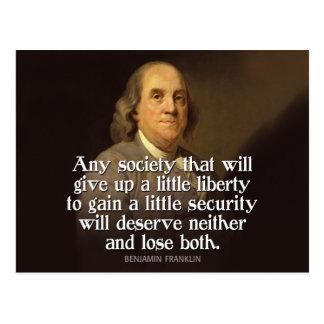 Ben Franklin : Toute société qui abandonnera… Carte Postale