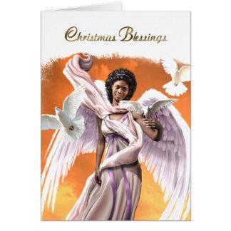 Bénédictions de Noël. Cartes de Noël d'ange d'Afro