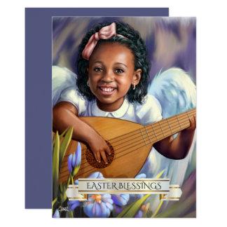 Bénédictions de Pâques. Peu d'ange avec la carte Carton D'invitation 12,7 Cm X 17,78 Cm