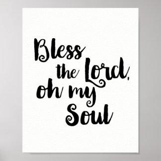 Bénissez le seigneur, oh mon âme poster