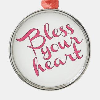 Bénissez votre coeur ornement rond argenté