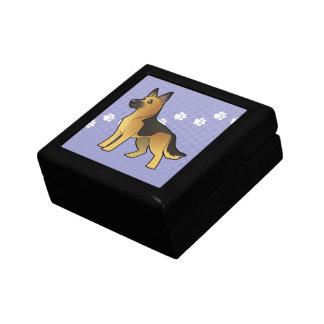 Berger allemand de bande dessinée petite boîte à bijoux carrée