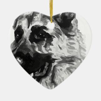 Berger allemand ornement cœur en céramique