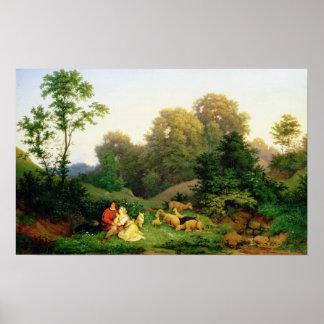 Berger et bergère dans un paysage allemand posters