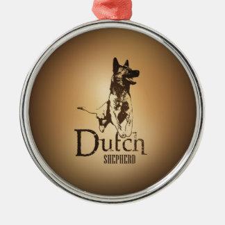 Berger néerlandais - Dutchie Ornement Rond Argenté