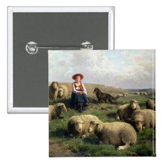 Bergère avec des moutons dans un paysage badges