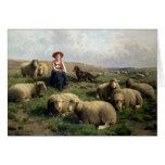 Bergère avec des moutons dans un paysage carte de vœux