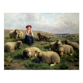 Bergère avec des moutons dans un paysage carte postale