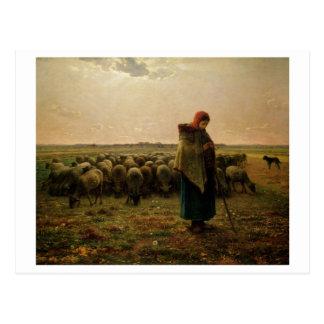 Bergère avec son troupeau, 1863 carte postale