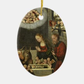 Bergers adorant le bébé Jésus par Cranach Ornement Ovale En Céramique