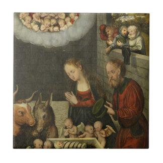Bergers adorant le bébé Jésus par Cranach Petit Carreau Carré