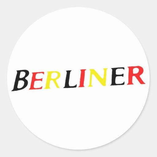 Berlin, Berlinois, Allemagne en couleurs de drapea Autocollants Ronds