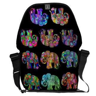 Besace Éléphants colorés d'Ornamental d'Ethno Pyschedelic