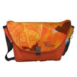 Besace Grand sac messenger orange à feuille (2,0)
