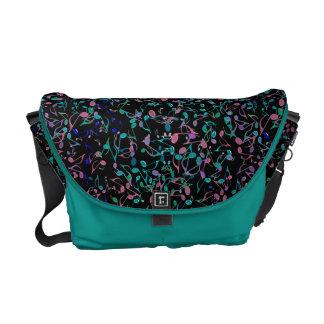 Besace Notes turquoises et roses de musique sur le sac