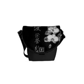 Besace Orchidées japonaises dans le noir